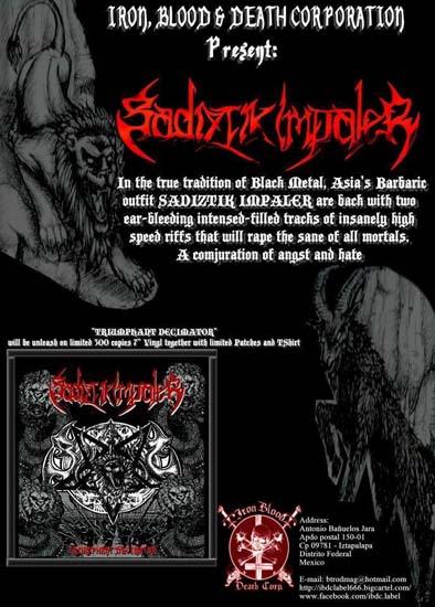 SADIZTIK IMPALER flyer at Zombie Ritual Zine