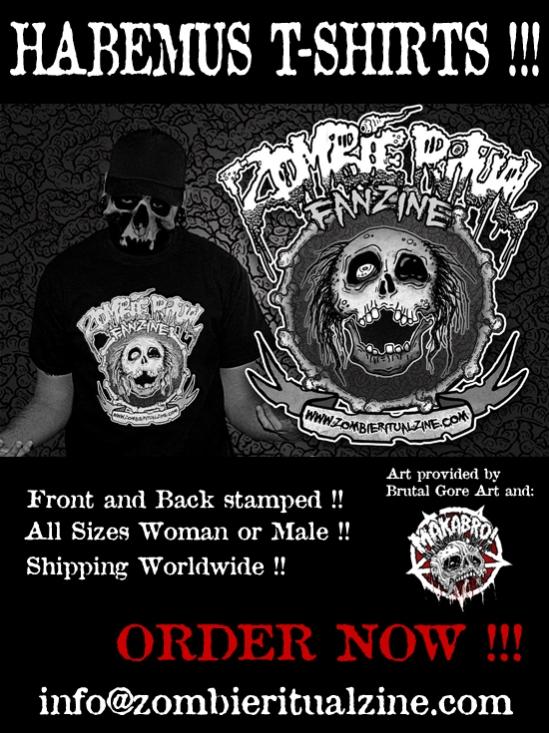 Zombie Ritual Zine T-Shirt flyer 2014
